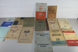 COLLECTION VARIOUS VEHICLE OPERATING MANUALS TO INCLUDE AUSTIN A60, AUSTIN 7, FORD ANGLIA ETC