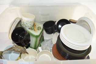 BOX CONTAINING MIXED WARES TO INCLUDE HORNSEA FLEUR TABLE WARES, CHEESE DISH ETC