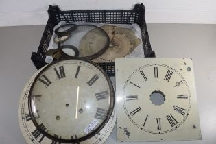 BOX OF MIXED ITEMS TO INCLUDE A 19TH CENTURY BAROMETER DIAL, TWO CLOCK FACES, ETC