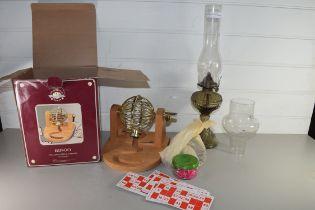 DEBENHAMS BINGO WHEEL TOGETHER WITH A GLASS BASED OIL LAMP