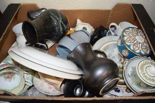BOX OF MIXED TEA WARES, ARK STUDIO POTTERY VASE, DECORATED PLATES ETC