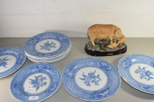MIXED LOT COMPRISING QTY OF SPODE CAMELLIA PATTERN PLATES TOGETHER WITH A RESIN MODEL OF A PIG