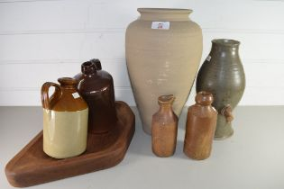 MIXED LOT OF STONEWARE BOTTLES, LARGE POTTERY VASE, AND A WOODEN FRUIT BOWL ETC