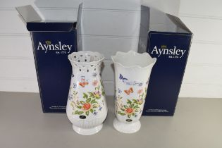 TWO AYNSLEY FLORAL DECORATED VASES