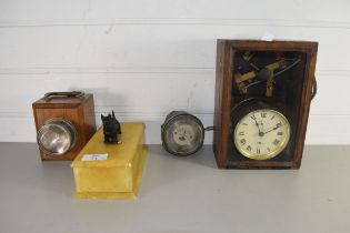 MIXED LOT COMPRISING A POLISHED STONE TABLE TOP BOX WITH DOG SHAPED MOUNT, VINTAGE SMITHS