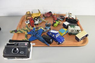 TRAY OF VARIOUS TOY VEHICLES TO INCLUDE MATCHBOX, TONKA, LESNEY AND OTHERS