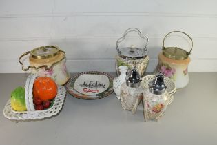 MIXED LOT COMPRISING A WILKINSON BISCUIT BARREL, PAIR OF SIMILAR SUGAR SIFTERS, TWO FURTHER