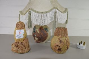 BERNARD ROOKE, SMALL TABLE LAMP BASE DECORATED WITH A SQUIRREL AND SHADE, AND A FURTHER SMALL VASE