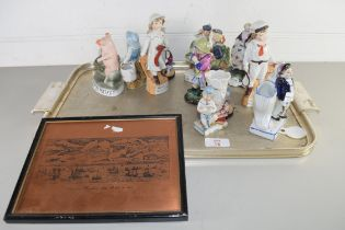 MIXED LOT OF LATE 19TH/EARLY 20TH CENTURY FAIRING TYPE FIGURES TO INCLUDE 'THIS LITTLE PIG WENT TO