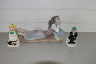 NAO FIGURE OF A RECUMBENT GIRL TOGETHER WITH A PAIR OF ANDY CAPP SALT AND PEPPER POTS (3)