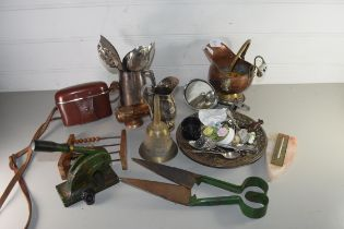 MIXED LOT OF ITEMS TO INCLUDE SILVER PLATED TANKARDS, CUTLERY, MINIATURE COPPER COAL BUCKET, SHEEP