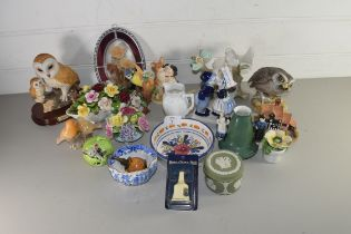 MIXED LOT OF ORNAMENTS TO INCLUDE CROWN STAFFORDSHIRE BLUE TIT, AYNSLEY LITTLE OWL, PLUS VARIOUS