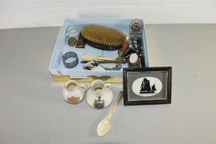 BOX OF MIXED ITEMS TO INCLUDE CRESTED CHINA, DRESSING TABLE BRUSH, TEA SPOONS ETC