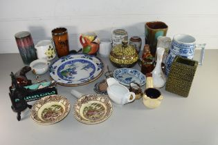 MIXED LOT OF CERAMICS TO INCLUDE RANGE OF VASES, MODEL SEAL, DECORATED PLATES AND OTHER ITEMS