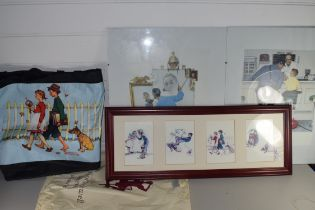 NORMAN ROCKWELL, COLLECTION OF ITEMS TO INCLUDE COLOURED PRINTS, BOXED COLLECTORS PLATES,