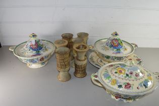 MIXED LOT COMPRISING THREE MASONS FLORAL DECORATED VEGETABLE DISHES IN THE STRATHMORE AND REGENCY