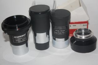 Black Cross filter mount, super 25 wide angle long eye relief, together with two Barlow lenses