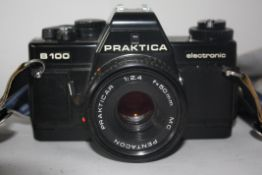 Praktica B100 electronic together with Prakticar 50mm lens