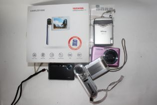 Mixed lot of point and shoot digital cameras to include a Samsung NW3 and a Toshiba Camileo S30