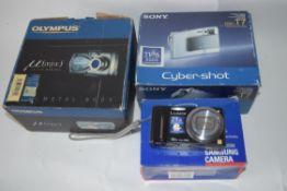 Lumix DMC TZ20, a Samsung AF slimzoom, a Sony Cybershot plus digital Olympus camera