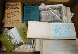 Box: ephemera including prints, cruise liner menu cards, documents etc