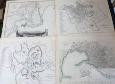 SOCIETY FOR THE DIFFUSION OF USEFUL KNOWLEDGE: EIGHT ENGRAVED PART HAND COLOURED ITALY TOWN PLANS