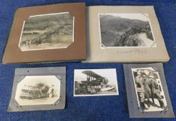 Small old disintegrating postcard album and an old photo album containing circa 50 picture postcards