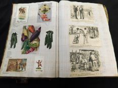 Folio size scrap book containing mainly Edwardian and later scraps, postcards, cigarette cards,