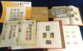 World mint and used stamp collection in four albums, 2 small stock books and on leaves etc, mainly