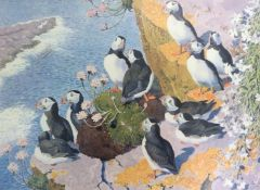 CHARLES FREDERICK TUNNICLIFFE: coloured print Puffins, limited edition of 350, numbered (66), approx