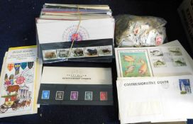 GB 1984-93 collection commemorative presentation pack plus an album and stock book, small range,