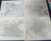 SOCIETY FOR THE DIFFUSION OF USEFUL KNOWLEDGE: FIVE ENGRAVED PART HAND COLOURED TOWN PLANS UK AND