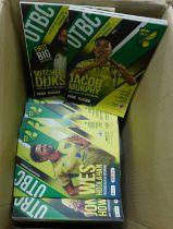 Three boxes modern Norwich City FC programmes, team sheets etc