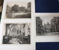WILLIAM MONK: 3 Oxford etchings ex ~The Calendar~, comprising The Garden Gate, Trinity College,