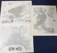 SOCIETY FOR THE DIFFUSION OF USEFUL KNOWLEDGE: THREE ENGRAVED PART HAND COLOURED NORTH AMERICA
