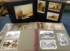 Box of mixed items including an accumulation of modern picture postcards in two albums and a shoe
