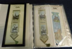 Box: collection 49 modern Cash~s woven bookmarks in three albums, mainly in original sealed