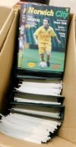 Three boxes modern Norwich City FC programmes including aways etc