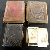 Carton three disintegrating Victorian carte de visite albums containing a few only, mainly ports