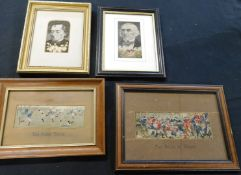 Three boxes assorted Thomas Stevens & others 21 assorted framed Stevengraphs etc