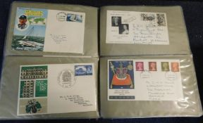 Box: World mint and used stamps in three albums and on album leaves plus two albums GB first day