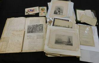 Box of assorted ephemera including photographs, manuscripts etc