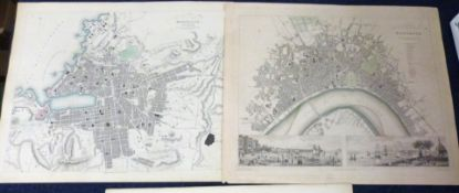 SOCIETY FOR THE DIFFUSION OF USEFUL KNOWLEDGE: FIVE ENGRAVED PART HAND COLOURED FRENCH TOWN PLANS