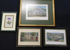 Three boxes 40+ framed or mounted modern silk pictures
