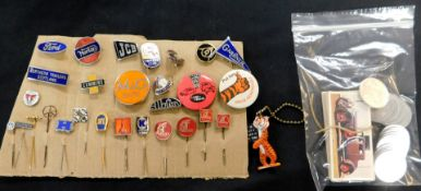 Packet 28 motoring stick pins and badges, plus Tony Tiger key ring plus a part set of Carreras Black