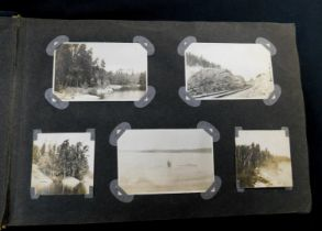 Old photo album containing circa 180 mainly snapshot images, early 20th century Canada interest