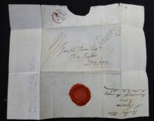 Jersey 1810 entire to London with good strike of Jersey scroll (early usage)