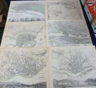 SOCIETY FOR THE DIFFUSION OF USEFUL KNOWLEDGE: SEVEN ENGRAVED PART HAND COLOURED TOWN PLANS