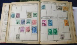 World, mainly used stamp collection in an old Lincoln album, together with an empty Ideal album, 8th