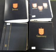 Jersey, Guernsey, Alderney and Isle of Man 1941-2011 mint and used stamp collection in 4 Davo albums